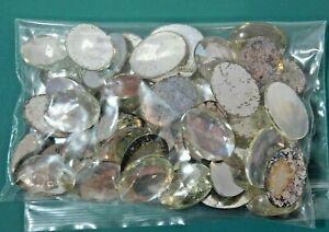 Vintage Flat Cab Rhinestones Jewerly Maker Oval Clear Silver 25 x 18 mm 50pc B14