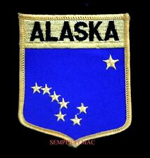 ALASKA STATE FLAG EMBROIDERED IRON ON PATCH AK SHIELD USA BERING STRAIT GIFT WOW