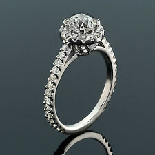 Halo 1.75 Carat SI1/D Round Cut Diamond Engagement Ring White Gold