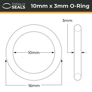 10x3 Nitrile (NBR) O-rings - 10mm Inner Diameter x 3mm Cross Section (16mm OD)