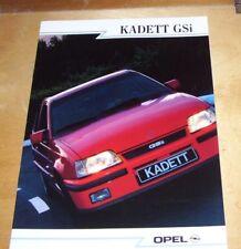 OPEL KADETT GSi SALES BROCHURE FR-88-021 In French 2.0i-OHC Engine SALOON CABRIO