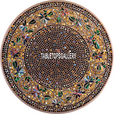 36'' Hallway Decor Marble Dining Table Gemstone Floral Multi Art Top Inlay H3964