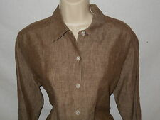 Tommy Bahama Linen Blouse MEDIUM Womens 12 Shirt Brown Top 6s101