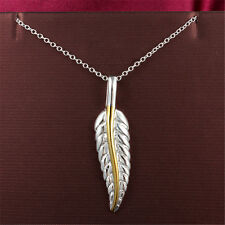 Golden Feather Pendant Necklace Plated Jewelry Women 925 Sterling Silver Gift