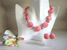 Chunky Vintage VOGUE Pink w/Swarovski Crystals Necklace and Earrings SET