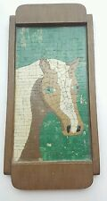 """7""""×15"""" Vintage Horse Mosaic Primitive Wooden Frame Wall Art Green Very Cool"""
