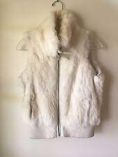 Wilson's Leather MAXIMA White Ivory Genuine Rabbit Fur Vest Jacket - Size M