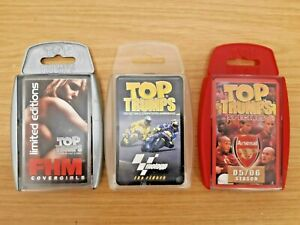 x TOP TRUMPS SETS: ARSENAL/MOTO GP/FHM COVERGIRLS: EXCELLENT CONDITION ITEMS !!!