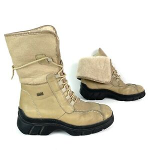 Rieker Womens Shearling Boots Fold Down Ankle Size 38