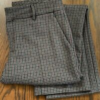 GUCCI Pants Women 29 x 29 Houndstooth Wool Brown Red Straight Leg Full Length