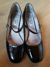 CLARKS Chinaberry Pop Black Patent Leather Mary Jane Dolly Shoes UK 7D
