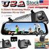10'' Dual Lens FHD 1080P Dash Cam Mirror Car DVR Backup Camera Monitor + 32GB