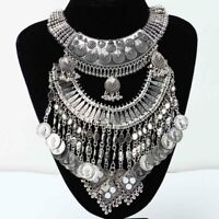 Gypsy Bohemian Vintage Ethnic Tribal Coin Pendant Statement Collar Necklace dh