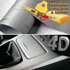 "48"" x 60"" Premium Gloss Silver Carbon Fiber 4D Vinyl Film Wrap Air Bubble Free"