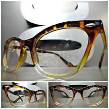 VINTAGE RETRO CAT EYE Style Clear Lens EYE GLASSES Tortoise & Transparent Frame