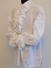 Men's Cotton Ruffled embroidered Long Sleeve White Shirt L Period Dress Darcy