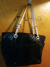 Micheal Kors Black Embossed Leather Satchel Tote Purse Shoulder bag Snake