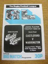 20/12/1980 programma Rugby League: John Player concorrenza semi-finale, castlefor