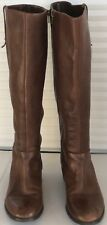 Crown Vintage Women's Brown Knee-High Leather Boots Zipper close Size 7.5 M