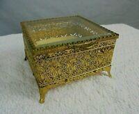 Vintage Footed Gold Ormolu Filigree Jewelry Casket Trinket Box Beveled Glass Lid
