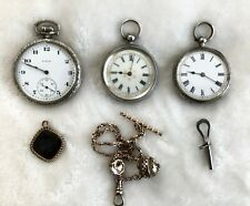 Three (3) Visually Stunning Antique Pocket Watches...Elgin Silver, Gold Roses