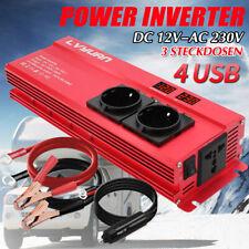 Spannungswandler 1000w 2000w Wechselrichter Inverter 12V - 230V 4USB 3 Steckdose