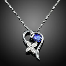 925 Silver Lovely Blue Zircon Flower Pendant lady Chain Necklace GSPN011-B