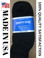 Creswell Top Quality 3 Pairs Made In USA Diabetic Socks Black Ankle 13-15 Size