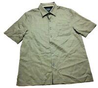 Nat Nast Mens Blue Yellow Polka Dot Front Pocket Button Front Silk Shirt Size M