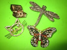 & Chest Rhinestones Very Good 4 Vintage Brooch/Pins, Cat, Dragonfly, Butterfly