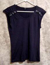 Gap Women's sz M Knit Top, Sleeveless, Navy, Black Beads, Pima Cotton Blend