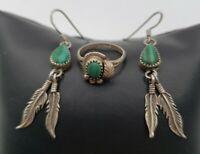 Lot of 3 925 Sterling Malachite Hand Tooled 925 VTG Earring Ring Dreamcatcher