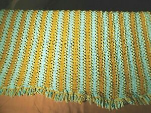 "Vintage Green & Blue Crocheted Afghan Blanket Throw 45"" x 74""L  RETRO  Boho"