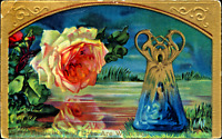 Love & Thoughts~BLUE ART GLASS VASE~YELLOW ROSE~GOLD EMBOSS Antique GEL Postcard