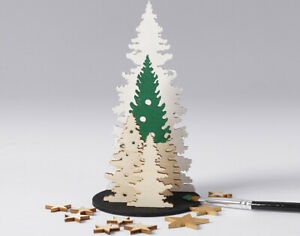 Wooden 13.5cm Christmas Tree Scene Craft Kit   Wooden Christmas Shapes