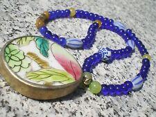 Collier Mandarin en Porcelaine Ancienne, Jade et Cristal de Bohème (Mandchourie)