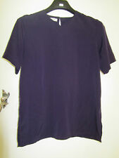 Dark Purple Short Sleeve Jacques Vert Top in Size 10 - Loose Fit - High V Neck