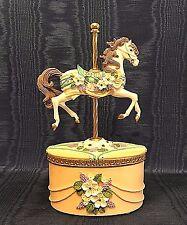 CAROUSEL HORSE MUSIC BOX, Blue Danube Waltz, Peach Resin Trinket Box,VINTAGE
