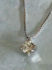 punto luce oro bianco 18 kt e diamante naturale 0.18 carati con collana 45 cm -
