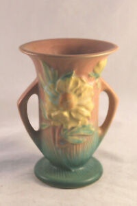 Roseville Peony Handled Vase in Pink and Green and Yellow