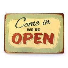 Come In We're Open - Retro Vintage Metal Tin Sign Shop Door Restaurant New
