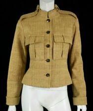 YVES SAINT LAURENT Golden Beige Woven Faux Raffia Military Jacket 38