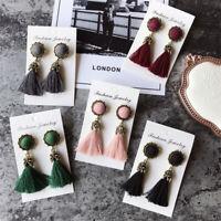 Women Fashion Thread Long Tassel Earrings Crystal Drop Statement Fringe Earrings