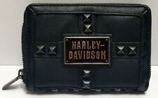 Harley-Davidson Willie G Skull Leather Zippered Women's RFID Wallet MSRP $85