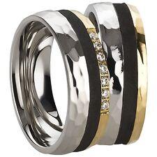 Trauringe Verlobungsringe Eheringe aus Edelstahl mit Zirkonia Ringe Gravur 3211