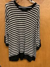 LANE BRYANT THIN SWEATER BLACK AND CREAM STRIPE  3/4 SLEEVE TURN UP DETAIL 22/24