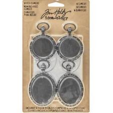 Tim Holtz Idea-ology Metal Watch Cameos - 4pcs Antique Nickel TH93264