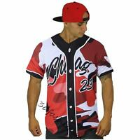 Red Camouflage Camo 23 Men Baseball Tee Varity Jersey Hiphop Streetwear T-Shirt