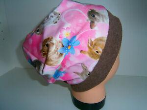 Neu-Handmade♥Hasen♥Beanie♥Mütze♥Kindermütze♥KU 38-58♥Jersey♥Mädchen♥rosa♥Print♥