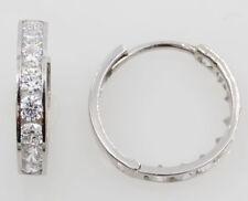14K Solid whlte Gold Huggie Hoop Earrings 3-3w Cubic Zirconia
